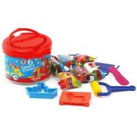 خمیر بازی 6 رنگ سطلی با ابزار آریا