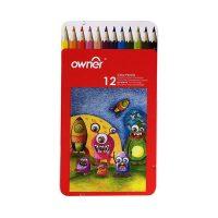 مداد رنگی 12 رنگ جعبه فلزی تخت اونر
