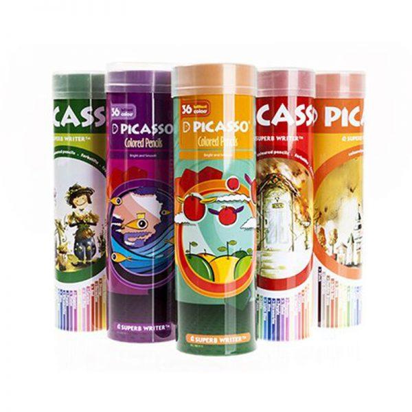 مداد رنگی 36 رنگ جعبه قوطی فلزی گرد پیکاسو