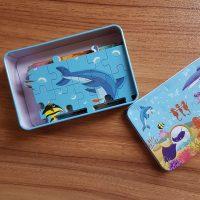پازل ۱۰۰ قطعه با جعبه فلزی حیوانات دریایی